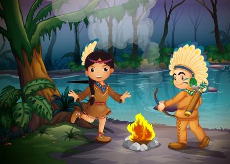 incendio bosco: Illustrazione dei due giovani indiani la foresta Vettoriali