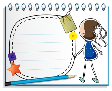 Illustration of a notebook with a sketch of a girl in a blue dress on a white background Vector