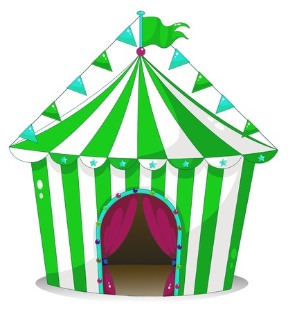Illustration of a green circus tent on a white background