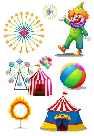 show ring: Illustration of a clown with the different things in a carnival on a white background Illustration