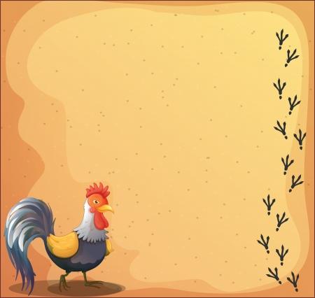 huellas de pies: Ilustraci�n de un escritorio con un gallo Vectores