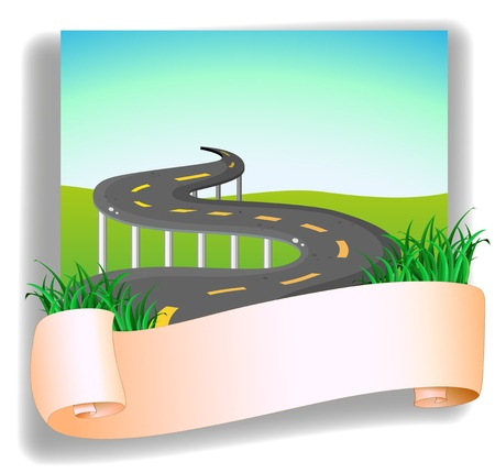 Illustration of a road with a signage on a white background Vector