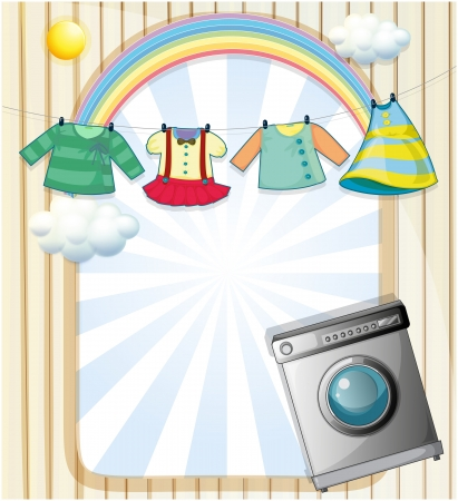 Illustration of a washing machine with hanging clothes at the top Vector