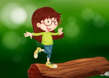 Illustration of a girl above the wood Vector