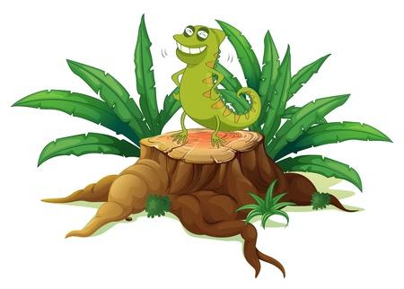 jungle plants: Illustration of a green iguana above a trunk on a white background Illustration