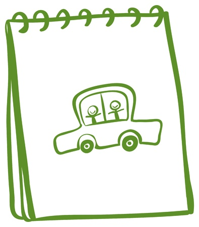 writing materials: Illustration of a green notebook with a car with kids at the cover page on a white background Illustration