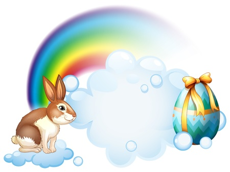 canvass: Illustration of a rabbit and an egg near the rainbow on a white background