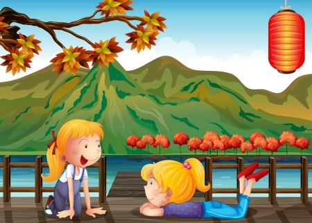 communicating: Illustration of the two girls talking at the wooden bridge Illustration