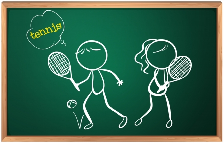 playing tennis: Illustration of a board with a drawing of a girl and a boy playing tennis