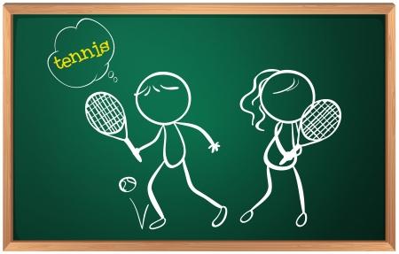 jugando tenis: Ilustraci�n de una tarjeta con un dibujo de una ni�a y un ni�o jugando al tenis Vectores
