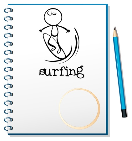 Illustration of a notebook with a sketch of a man surfing on a white background Stock Vector - 18983333