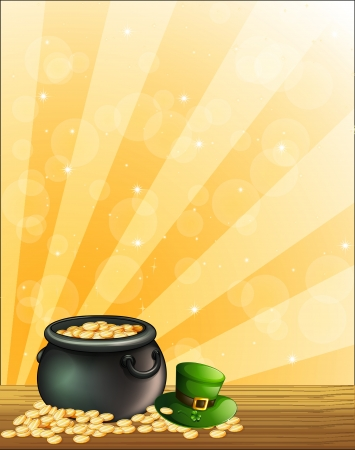Illustration of a green hat and a pot of gold  Vector