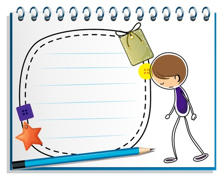 Illustration of a notebook with a sketch of a sad boy on a white background Vector