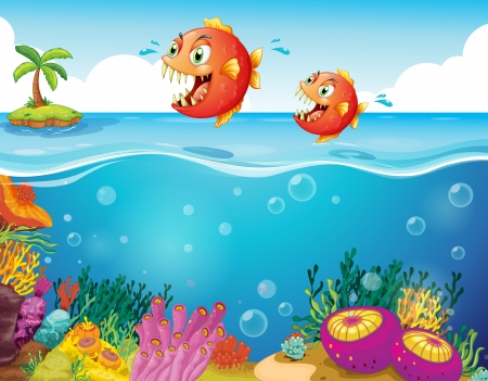 Illustration of the two scary piranhas at the sea Stock Vector - 18983633