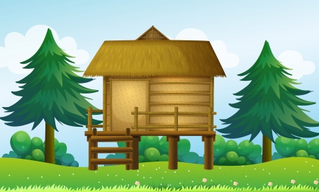 pic: Illustration of a small house at the top of the hill