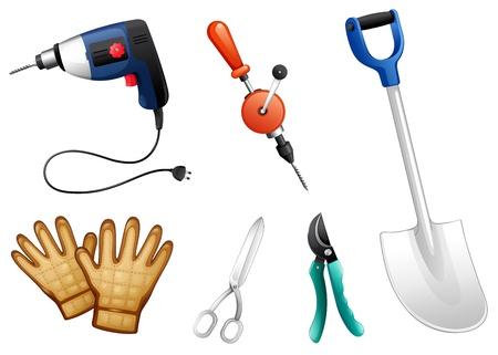 Illustratie van de zes verschillende soorten van bouw tools op een witte achtergrond Vector Illustratie