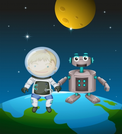 Illustration of an astronaut beside a robot in the outer space Stock Vector - 18983458