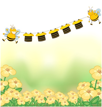 honeybee: Illustration of the two bees and the hanging clothes