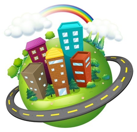 rainbow sphere: Illustration of an aerial view of a city on a white background Illustration