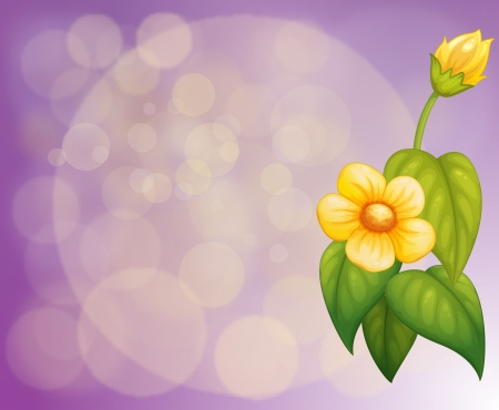 pointed: Illustration of a gradient colored stationery with yellow flowers Illustration