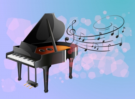 Illustration of a piano with musical notes Vector