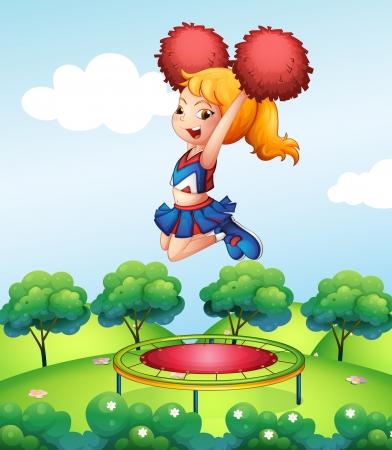 cheer leader: Ilustraci�n de una cheerdancer sosteniendo sus pompones rojos encima de la cama el�stica