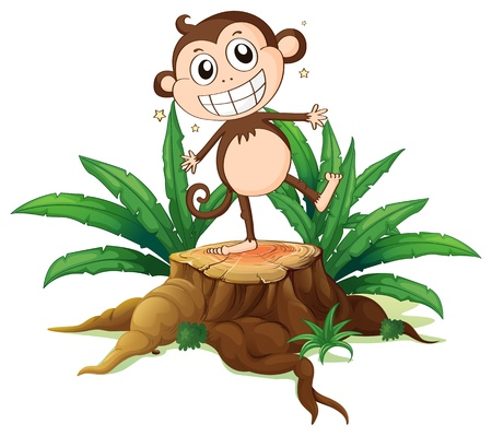 cut logs: Illustration of a monkey standing above a trunk on a white background