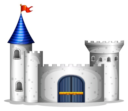 Illustration of a castle with a red flag on a white background Vector