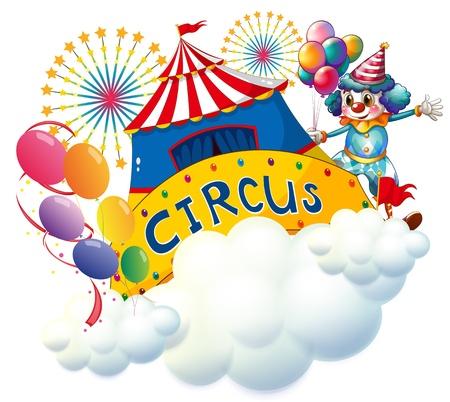 Ilustración de un circo por encima de las nubes sobre un fondo blanco