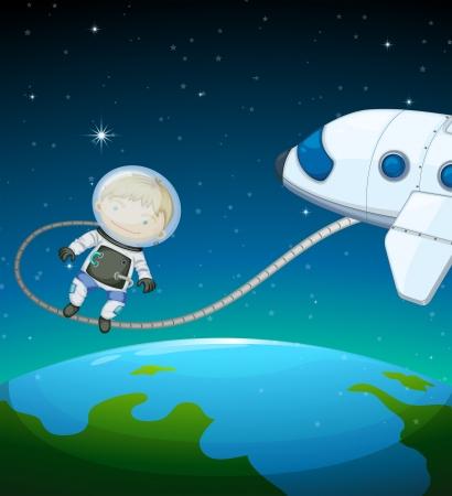 blimp: Ilustraci�n de un astronauta en el espacio exterior Vectores