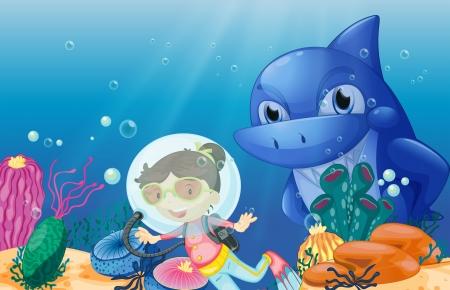 deep sea diver: Illustration of a young scuba diver