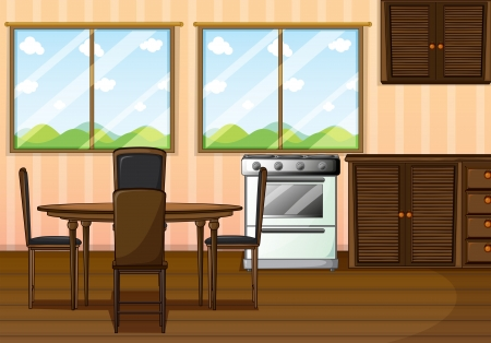 Illustration of a clean dining room Vector
