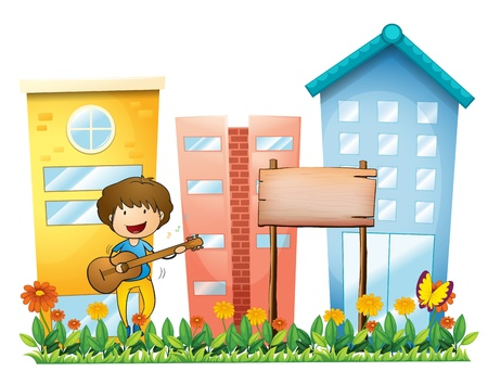 establishments: Illustration of a boy with a guitar beside an empty wooden signboard on a white background Illustration