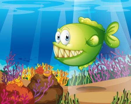 downunder: Illustration of a green piranha