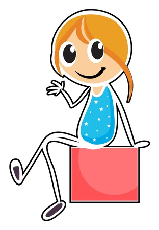 child sitting: Illustration of a girl sitting while waving her hand on a white background