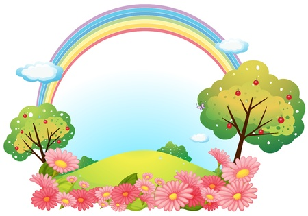 Illustration of a hill with flowers and trees on a white background Vector