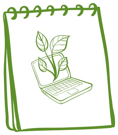 Illustration of a notebook with a sketch of a laptop at the cover page on a white background Stock Vector - 18983370