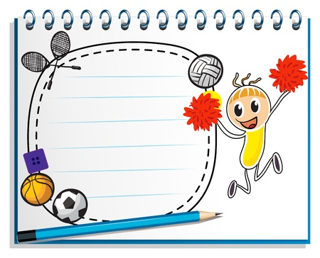 Illustration of a notebook with a drawing of a cheerer beside an empty space on a white background Vector