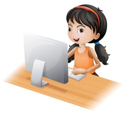 Illustration of a young girl using the computer on a white background Vector