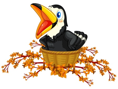 Illustration of a black bird inside the basket on a white background Vector