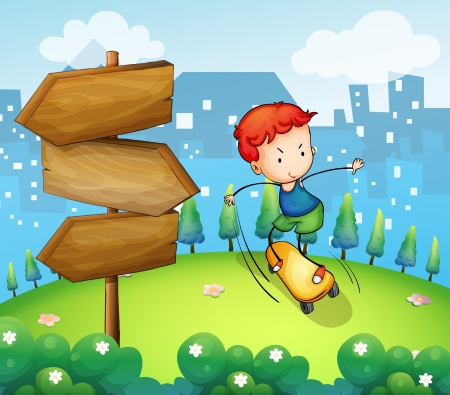 beside: Illustration of a boy playing skateboard beside the wooden arrows