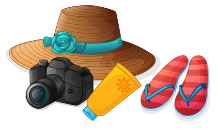 lotion: Illustration of a camera, a hat, a lotion and a pair of slippers on a white background