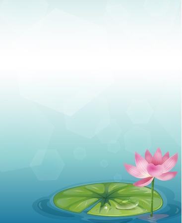 vapore acqueo: Illustrazione di un elemento decorativo con una ninfea e un fiore rosa