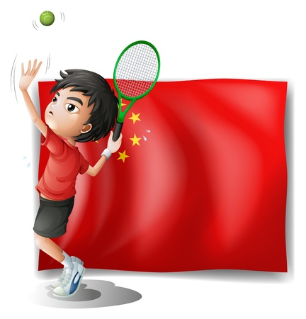 Illustration of a boy playing tennis in front of the Chinese flag on a white background Vector