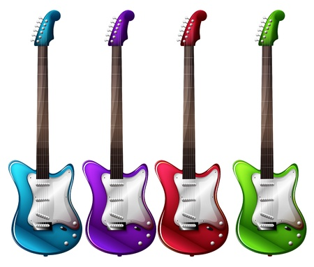 electric guitars: Illustration of the four colorful electric guitars on a white background