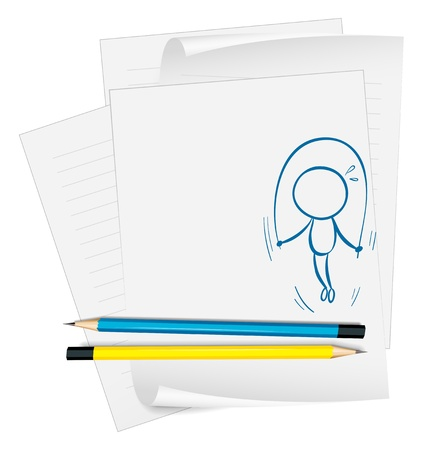 Illustration of a paper with a sketch of a child playing jumping rope on a white background Vector
