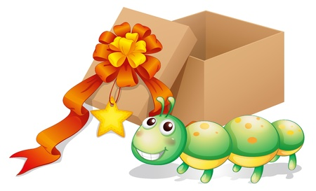 Illustration of a caterpillar toy beside a box on a white background Vector