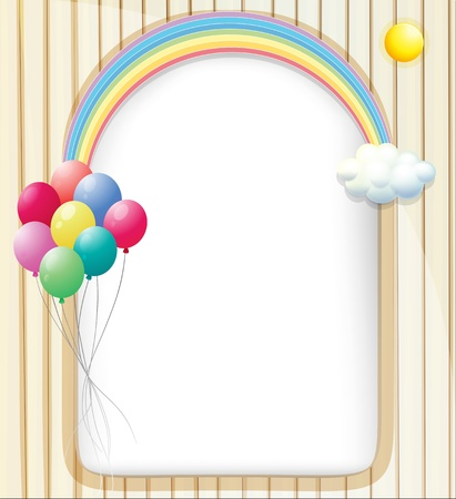 Illustration of an empty template with a rainbow and balloons Stock Vector - 18983479