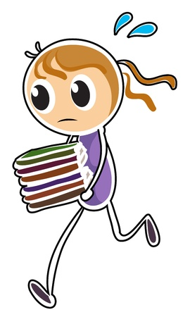 tiresome: Illustration of a girl running while holding books on a white background