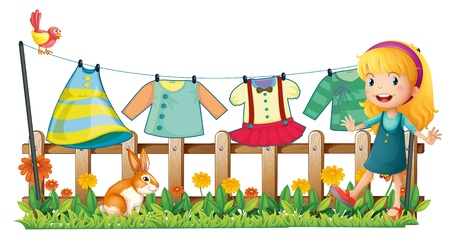wet clothes: Illustration of a girl in the garden in front of the hanging clothes on a white background